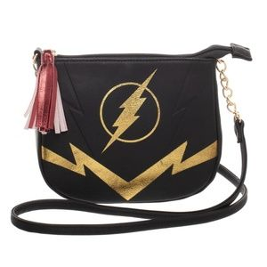The Flash Crossbody Bag Purse DC Comics Black Gold